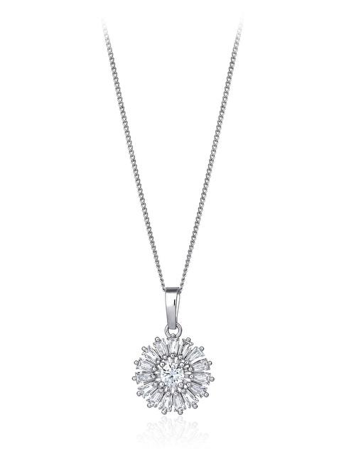 Tophills Diamond Co. 2,20 Ct Pırlanta Efekt Altın Sun Trapes Kolye  Renkli